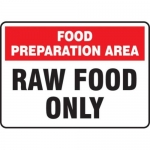"""Accuform MFSY526VA10, 7″ x 10″ Food Safety Sign """"Raw Food Only"""""""