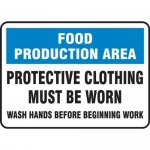 """Accuform MFSY559VA10, 10″ x 14″ Safety Sign """"Food Production …"""""""