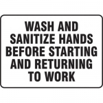 """Accuform MFSY562XL10, 10″ x 14″ Safety Sign """"Wash and Sanitize …"""""""