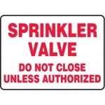 "Accuform MFXG550VA10, 10″ x 14″ Safety Sign ""Sprinkler Valve Do …"""