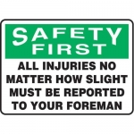 """Accuform MGNF400XT10, 7″ x 10″ Safety Sign """"All Injuries No …"""""""