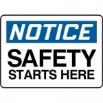 """Accuform MGNF809XV10, 5″ x 7″ Safety Sign """"Safety Starts Here"""""""