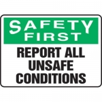 """Accuform MGNF911XV10, 10″ x 14″ Safety Sign """"Report All Unsafe …"""""""