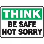 """Accuform MGNF933VS10, 10″ x 14″ Safety Sign """"Think – Be Safe …"""""""