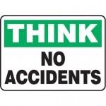 """Accuform MGNF937VS10, 10″ x 14″ Think Safety Sign """"No Accidents"""""""