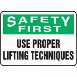 """Accuform MGNF946XV10, 10″ x 14″ Safety Sign """"Use Proper Lifting …"""""""