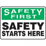 """Accuform MGNF952VS10, 10″ x 14″ Safety Sign """"Safety Starts Here"""""""