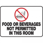 """Accuform MHSK535XT, 10″ x 14″ Safety Sign """"Food Or Beverages …"""""""
