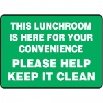 """Accuform MHSK599VA10, 10″ x 14″ Safety Sign """"This Lunchroom Is …"""""""