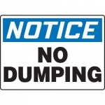 """Accuform MHSK810VA10, 10″ x 14″ Safety Sign """"No Dumping"""""""