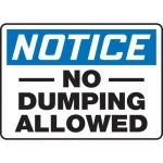 """Accuform MHSK814VA10, 10″ x 14″ Safety Sign """"No Dumping Allowed"""""""