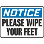 """Accuform MHSK828XV10, 10″ x 14″ Safety Sign """"Please Wipe Your Feet"""""""