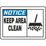 """Accuform MHSK831XV10, 7″ x 10″ Safety Sign """"Keep Area Clean"""""""