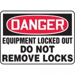 """Accuform MLKT004VP10, 10″ x 14″ Safety Sign """"Equipment Locked Out …"""""""