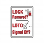 """Accuform MLKT509VP10, 14″ x 10″ Safety Sign """"Lock Removed LOTO …"""""""