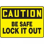 """Accuform MLKT603VP10, 10″ x 14″ Safety Sign """"Be Safe Lock It Out"""""""