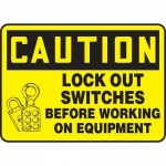 """Accuform MLKT604VP10, 10″ x 14″ Safety Sign """"Lock Out Switches …"""""""