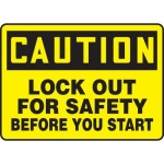 """Accuform MLKT612VP10, 10″ x 14″ Safety Sign """"Lock Out For Safety …"""""""
