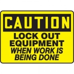 """Accuform MLKT619VP, 10″ x 14″ Safety Sign """"Lock Out Equipment …"""""""