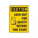 """Accuform MLKT627VP10, 10″ x 7″ Safety Sign """"Lock Out For Safety …"""""""