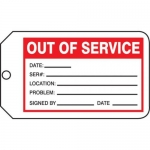 "Accuform MMT330CTP, Safety Tag ""Out Of Service"" PF-Cardstock"