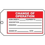 "Accuform MMT331CTP, Safety Tag ""Change Of Operation"" PF-Cardstock"