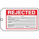 "Accuform MMT333CTP, Safety Tag ""Rejected"" PF-Cardstock"