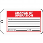 "Accuform MMT334CTP, Safety Tag ""Change Of Operation"" PF-Cardstock"