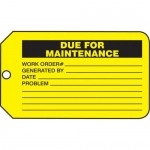 "Accuform MMT337CTP, Safety Tag ""Due For Maintenance"" PF-Cardstock"