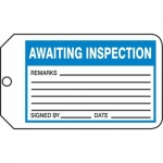 "Accuform MMT338CTP, Safety Tag ""Awaiting Inspection"" PF-Cardstock"