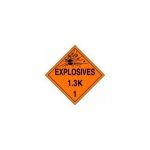 "Accuform MPL125CT100, DOT Placard Hazard Class 1 ""Explosives 1.3K"""