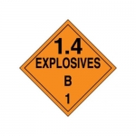 "Accuform MPL127CT100, DOT Placard Hazard Class 1 ""Explosives 1.4B"""