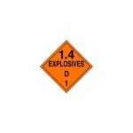 "Accuform MPL129CT100, DOT Placard Hazard Class 1 ""Explosives 1.4D"""