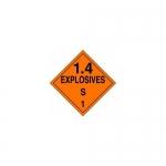 "Accuform MPL133CT50, DOT Placard Hazard Class 1 ""Explosives 1.4S"""
