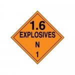 "Accuform MPL135CT50, DOT Placard Hazard Class 1 ""Explosives 1.6N"""