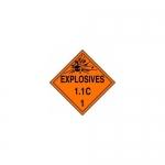 "Accuform MPL13CT50, DOT Placard Hazard Class 1 ""Explosives 1.1C"""