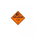 "Accuform MPL15CT100, DOT Placard Hazard Class 1 ""Explosives 1.1E"""