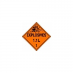 "Accuform MPL19CT100, DOT Placard Hazard Class 1 ""Explosives 1.1L"""