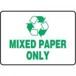 "Accuform MPLR564XT10, 10″ x 14″ Safety Sign ""Mixed Paper Only"""
