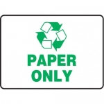 "Accuform MPLR569XT10, 7″ x 10″ Recycling Sign ""Paper Only"""