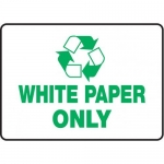 "Accuform MPLR587XT, 7″ x 10″ Safety Sign ""Recycle – White Paper Only"""