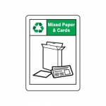 "Accuform MPLR656XT10, 10″ x 7″ Recycling Sign ""Mixed Paper & Cards"""