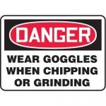 """Accuform MPPA022XF10, 10″ x 14″ OSHA Safety Sign """"Wear Goggles …"""""""