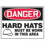 """Accuform MPPE049XP, 10″ x 14″ OSHA Safety Sign """"Hard Hats Must …"""""""