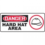 """Accuform MPPE067XP10, 7″ x 17″ OSHA Danger Safety Sign """"Hard Hat Area"""""""