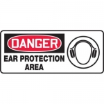 """Accuform MPPE129XF10, 7″ x 17″ OSHA Safety Sign """"Ear Protection Area"""""""