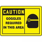 """Accuform MPPE412XF10, 7″ x 10″ OSHA Safety Sign """"Goggles Required …"""""""