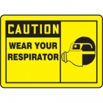 """Accuform MPPE418VS10, 7″ x 10″ OSHA Safety Sign """"Wear Your Respirator"""""""
