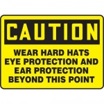 """Accuform MPPE422XP10, 7″ x 10″ OSHA Safety Sign """"Wear Hard Hats …"""""""