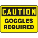 """Accuform MPPE423XF10, 10″ x 14″ OSHA Safety Sign """"Goggles Required"""""""